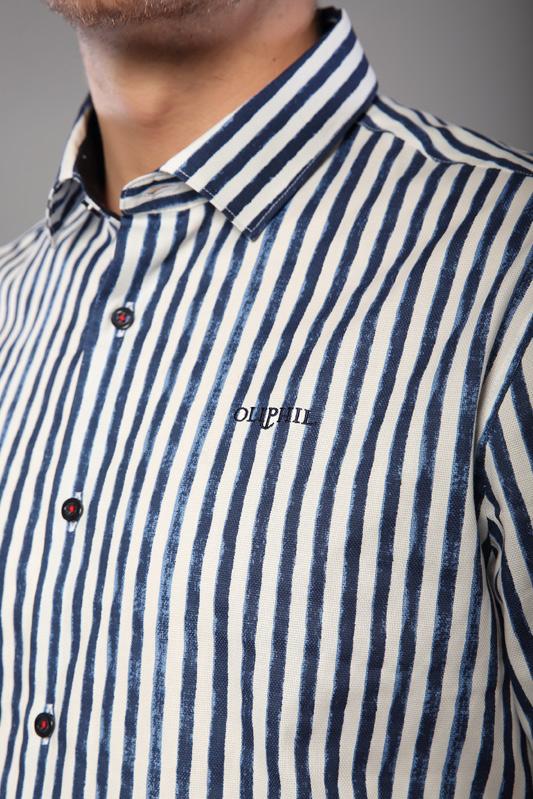 Chemise rayée Flag blanche