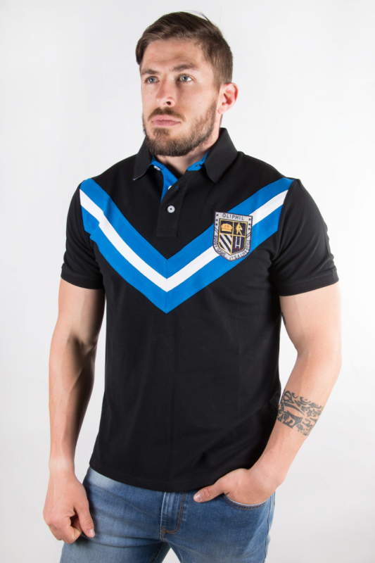 Polo rugby Drop noir 8S