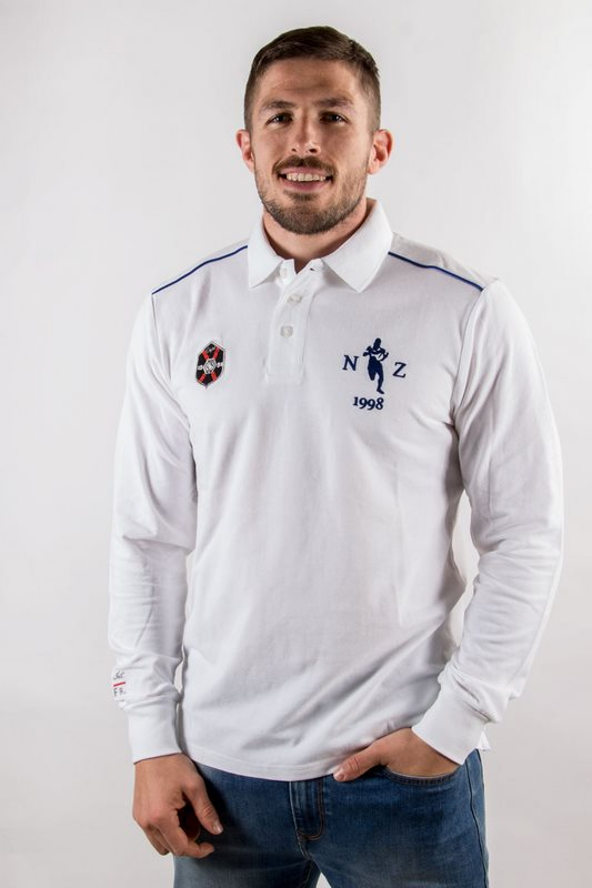 Polo homme rugby Mark Blanc