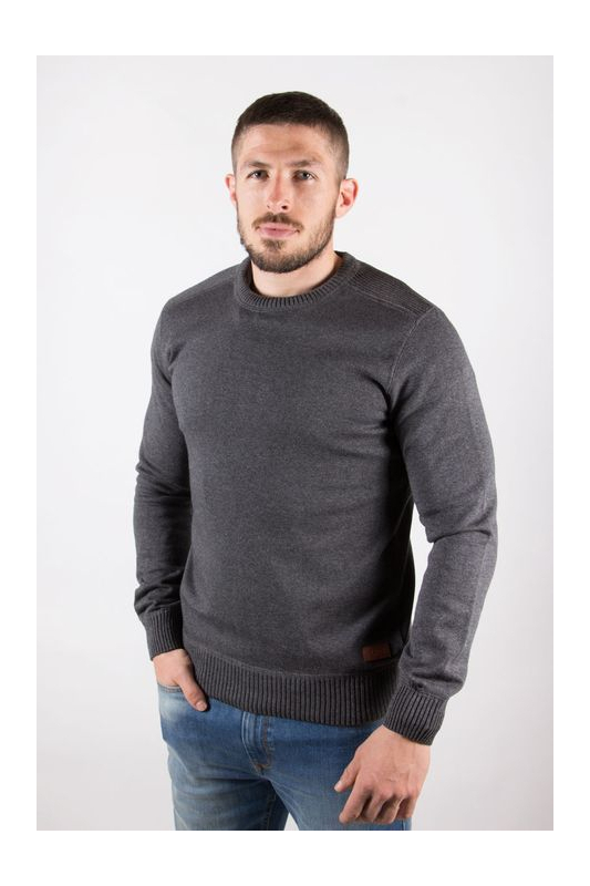 Pull homme col rond gris chiné