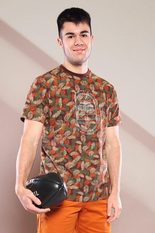T-shirt imprimé Compet marron