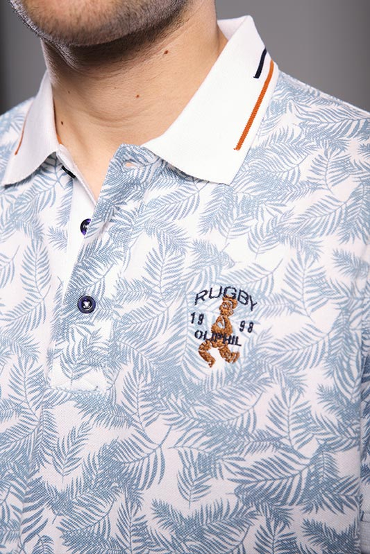 Polo homme Feuillage blanc