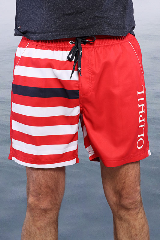 Short de bain Stripes rouge