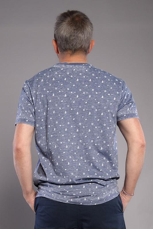 T-shirt bleu avec motifs homme