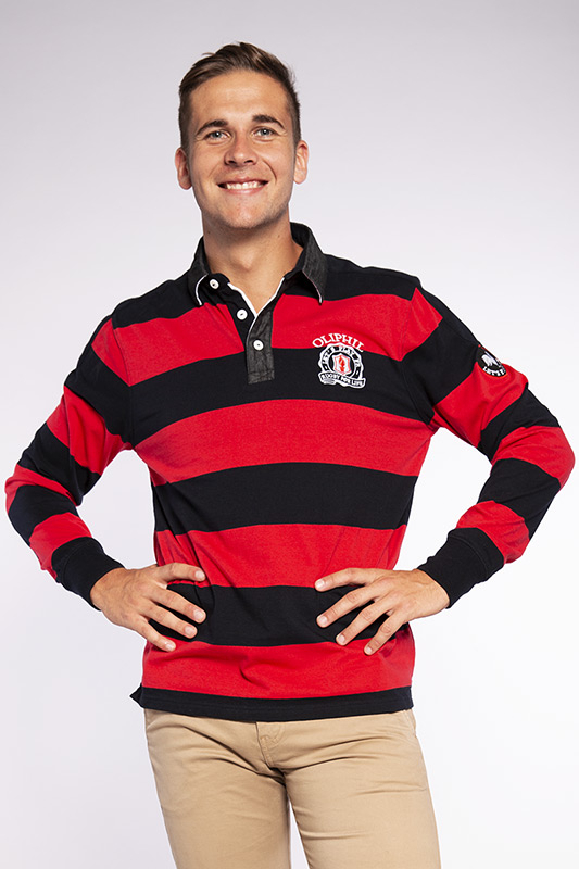 Polo homme rugby Heavy rouge